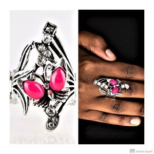Beautiful In Butterflies ~ Pink Stretch Ring